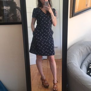 Loft Navy Feather Dress